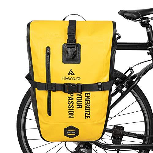 HIKENTURE - Bolsa de bicicleta para portaequipajes, 27 L, resistente al agua, incluye correa para el hombro, bolsa para bicicleta trasera, bolso para accesorios de bicicleta - Amarillo 27L