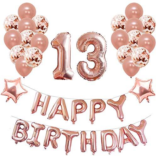 Yoart 13. Geburtstag Dekorationen Rose Gold für Mädchen Birthday Party Supplies 39 Stück mit Alles Gute zum Geburtstag Banner Konfetti Latex Ballons Sterne Folien Ballons