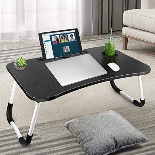 HENGQI - Bandeja de cama para ordenador portátil, portátil, ajustable, mesa de pie portátil con patas plegables, mesa plegable para tablet para sofá y suelo