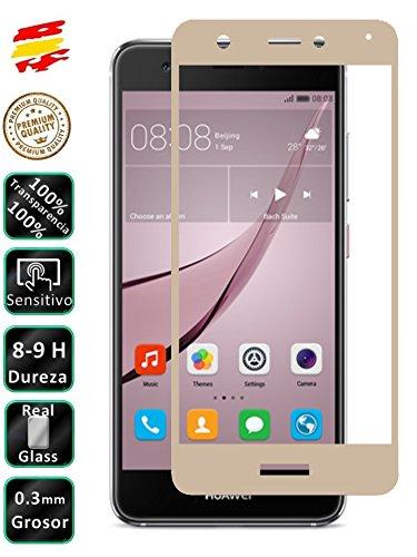 Movilrey Protector para Huawei Nova Plus 5.5 Dorado Completo 3D Cristal Templado...