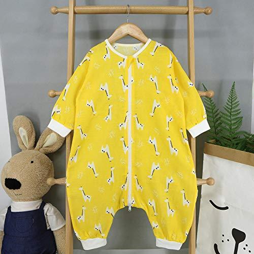 B/H Ganzjahres Schlafsack Baby,Langärmelige Baumwollkleidung, dünner Baby-Kick-Schlafsack, zweilagiges H_M mit geteiltem Bein