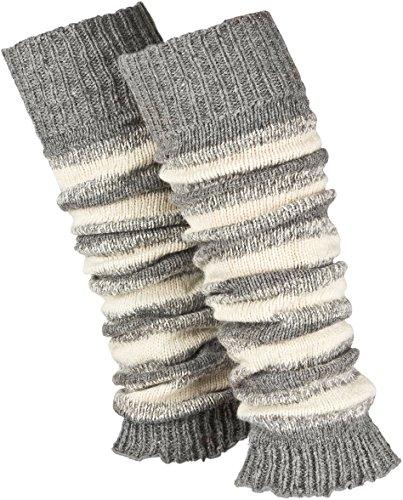 Piarini 1 Paar geringelte Stulpen Damen - warme Bein-Stulpen in Strick - Wolle in One-Size Grau-Weiß