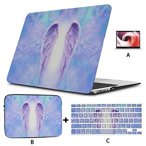 Cover MacBook Air 13 Artwork Blue Angel Wings Mac Book Cases Hard Shell Mac Air 11'/13' Pro 13'/15'/16' with Notebook Sleeve Bag for MacBook 2008-2020 Version