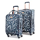 American Tourister Belle Voyage Softside Luggage with Spinner Wheels, Floral Indigo Sand, 2-Piece Set (21/25)