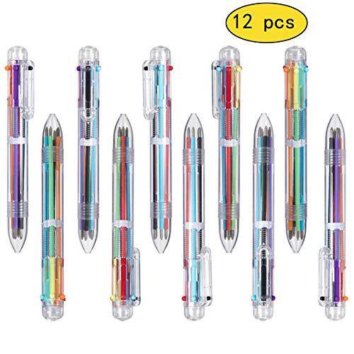 12 Pack Multicolor Pens 0.5mm 6-in-1 Retractable Ballpoint Pens,6 Colors Transparent Barrel Ballpoint Pen