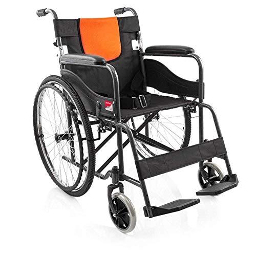 MTX Ltd Seniorenversorgung Rollstuhlklapp-Leichtrollstuhl, Aluminium-Klapprollstuhl, Abnehmbare, Verstellbare Armlehnen, Handrollstuhl, Stahlrohrverstärkung,Gelb,A