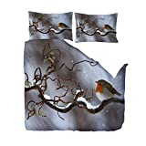 Duvet Cover Full Size 68x90 inch Robin On Snow Branch,Print Duvet Cover Set for...