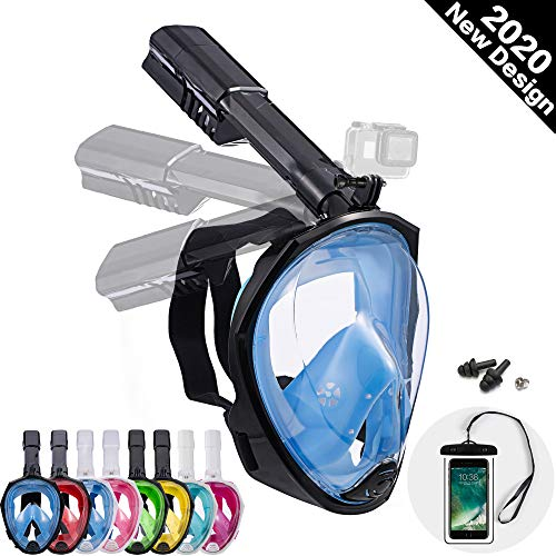 Dekugaa Full Face Snorkel Mask, Snorkeling Mask with Detachable Camera Mount, 180 Degree Panoramic Viewing Upgraded Dive Mask with Safety Breathing System Dry Top Set Anti-Fog Anti-Leak
