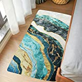 LIVEBOX Marble Area Rug Runner, 2'x4.3'ft Modern Abstract Gold and Turquoise Area Rugs Contemporary Style Accent Throw Rug Floor Mat for Entryway Laundry Bedroom Living Room
