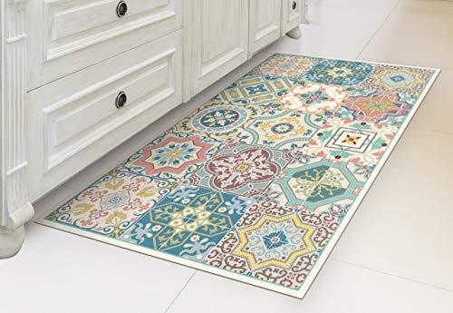 IRI-GIRI Vinyl Kitchen Floor Mat Decorative Linoleum PVC Rug Runner Tile Flooring , Colorful, Durable, Anti-Slip, Hand Washable, and Protects Floors 31.5' x 23.6', Venetian Beauty 271