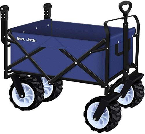Bollerwagen mit Faltbarer Handwagen Faltwagen Transportkarre Gartenanhänger Gartenwagen Transportwagen für alle Untergründe Strandwagen bis 100KG Tragkraft drehbar Blau Upgrade durchführen
