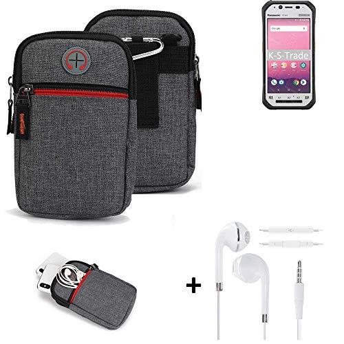 K-S-Trade® Gürtel-Tasche + Kopfhörer Für Panasonic Toughbook FZ-N1 Handy-Tasche Schutz-hülle Grau Zusatzfächer 1x