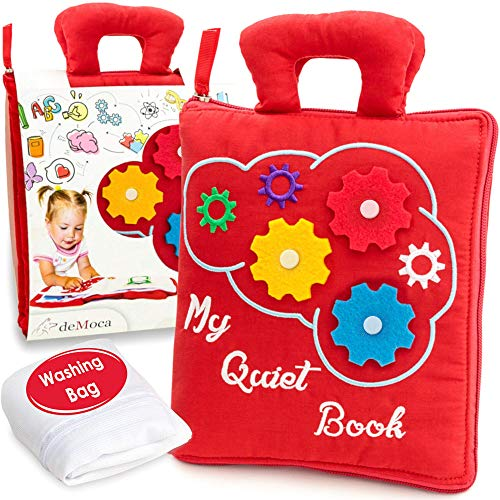 deMoca Quiet Book for Toddlers - Montessori Basic Skills Activity - Soft Travel Toy & Educational Busy Book for 3 Year Old Boys & Girls + Zipper Bag, Red