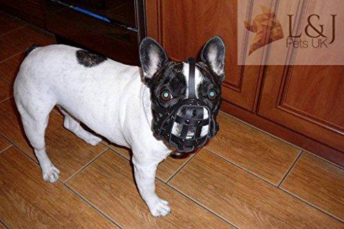 Light Leather Dog Muzzle for French Bulldog - Frenchies (Fb1, Black)