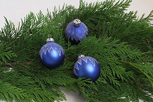 vintage13.de Weihnachtskugeln Weihnachtsdeko Christbaumkugeln Blau Kugel Glitter Rödentaler