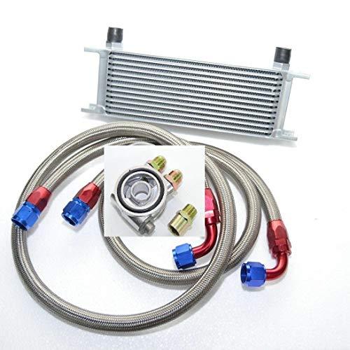 Universal Zusatz Ölkühler Set 16 Reihen inkl. Anschluss-Set mit Thermostat