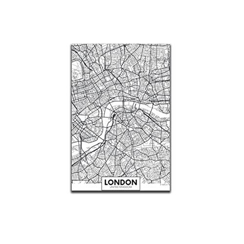 Meisijia Londres New York, Paris Toile Peinture Murale du Monde Carte de la Ville Affiche Blanche Noire Résumé Squelette Huile Unframed Dessin A3: 30 * 42cm et Londres