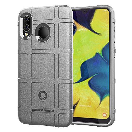 MEVIS Protector Funda Samsung Galaxy A70 de SHVEL Rugged, [Protector Pantalla Completa 9D], Suave Material TPU con Textura Mate Anti Golpes, Protector Funda para Deportes-Gris