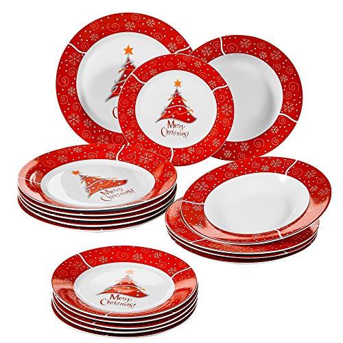 VEWEET, Série Christmastree, Ensemble Assiette en Porcelaine, 18 pièces, 6 assietes Plates, 6 Assiettes Creuses, 6 Assiettes à Dessert pour Fête Noël