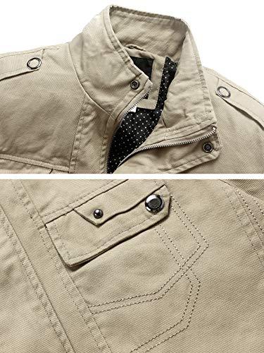 Wantdo Men's Cotton Casual Fall Windbreaker Jacket Khaki,Large