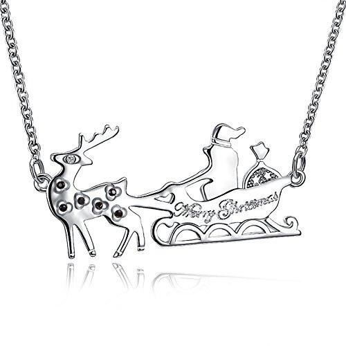 AmDxD Damen Halskette Versilbert Weihnachten Anhänger Schwarz Zirkonia Rentier Schlitten Silber