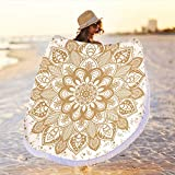 Large Round Microfiber Gold Orange Yellow Mandala Beach Towel Blanket,Soft Thick Quick Dry Absorbent Sand Proof Picnic Table Meditation Yoga Wall Hanging Throw Tapestry Rug Mat Cover Cloth Decor 59'