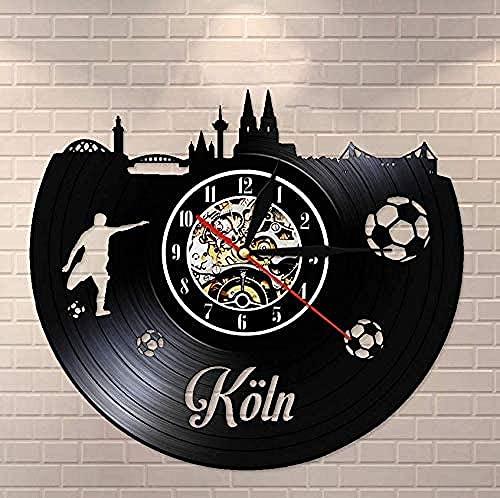 zgfeng Reloj de Vinilo Horizon Reloj de Pared de Vinilo Reloj de Pared Vintage Reloj de Pared de Paisaje Urbano de Colonia Reloj de Pared silencioso No Tick Regalo de Viaje de Alemania