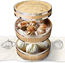 STEAMERS Stainless Bamboo Steamer Basket with Free Dumpling Maker and 50 paper liners, Steam Basket Bamboo, Bao Steamer, Bun Steamer, Dim Sum Steamer, Dumpling Steamer Basket, Chinese Steamer Bamboo