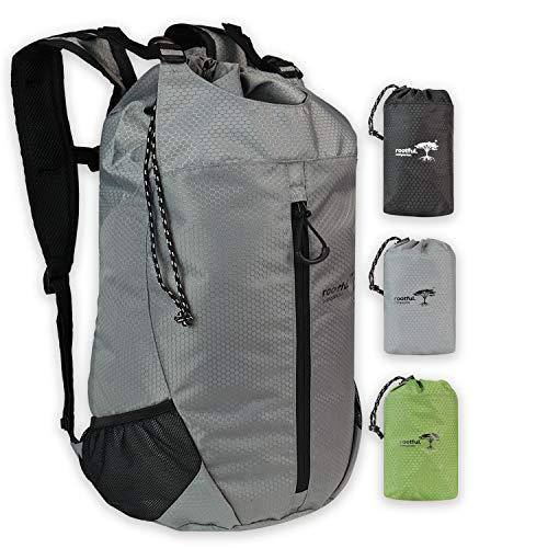 rootful.® Companion Faltbarer Premium Rucksack 25L (neues Modell 2020) - Ultraleichter Rucksack für Outdoor, Reisen, Camping und Wandern - Tagesrucksack/Daypack (Grau)
