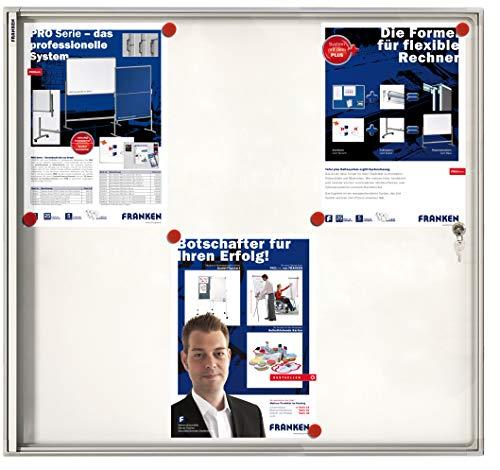 Franken FSA6 Flachschaukasten 6 x DIN A4, Metalloberfläche 68 x 73 x 3 cm