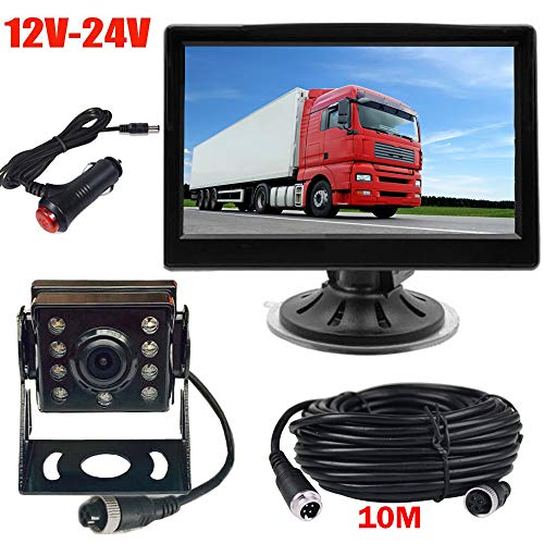 "Sistema de cámara de copia de seguridad de 4 pines, 12V-24V 5 ""TFT LCD HD Monitor + 8 LEDs IR Visión nocturna Impermeabilizante Invertir cámara de visión trasera reversa"