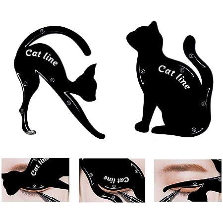 TailaiMei 2 Pcs Cat Eyeliner Stencils, Matte PVC Material Smoky Eyeshadow Applicators Template Plate, Cat Shape Eye liner & Eye Shadow Guide Template Tool
