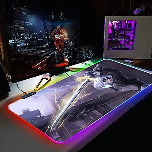 Almohadillas de ratón NieR:Automata Mouse Pad RGB Gamer Accesorios LED retroiluminado ordenador escritorio teclado pad grande kawaii Mouse Pad 800x300 MM