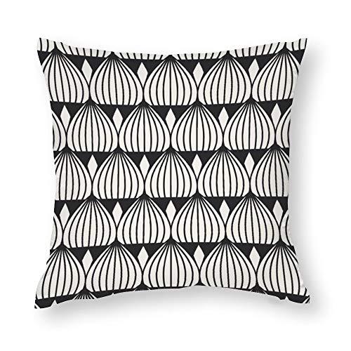 YY-one Fundas de almohada decorativas sin costuras, diseño geométrico, color negro y blanco, funda de cojín de algodón para sofá, silla, cuadrado, 50,8 x 50,8 cm