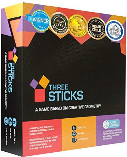 THREE STICKS Mathe-Spiel Bildungsbrettspiele STEM Spielzeug für Jungen und Mädchen Geometrie Spiele Puzzles. Kreativität Geschenke für Kinder