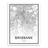SHBKGYDL Bilder Auf Leinwand,World City Brisbane Karte