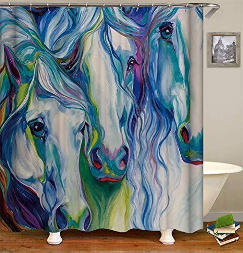 ZZZdz Abstraktes Gemälde. Viele Verschiedene Pigmentfarben. Zusammensetzung Der Farbigen Pferde. Duschvorhang. Wasserdicht. Einfach Zu Säubern. 180X180Cm.