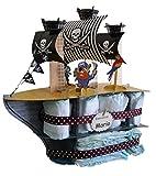 Tarta de pañales Barco Pirata - regalo original para bebé - tarta de pañales...
