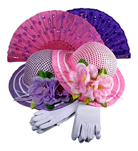 Butterfly Twinkles Girls Tea Party Hats Dress Up Play Set For 2 with Sun Hats Gloves Hand Sequined Fans - Pink, Purple