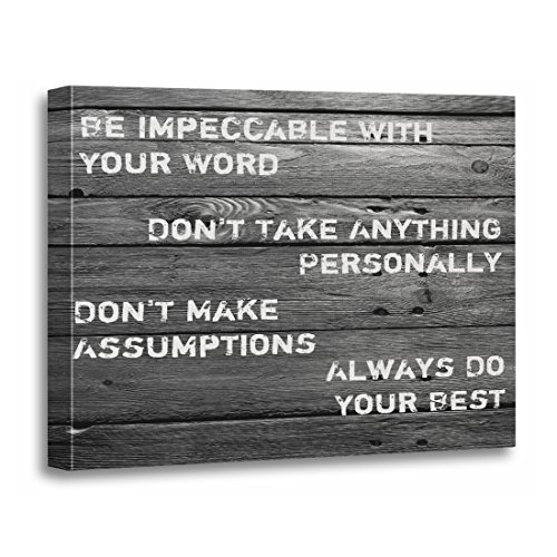 """TORASS Canvas Wall Art Print Rustic Four Agreements Wood Country Countrystyle Pallet Artwork for Home Decor 12"""" x 16"""""""