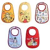 Disney Winnie the Pooh Tigger Eeyore Piglet Baby Boys 5 Pack Side Snap Bibs