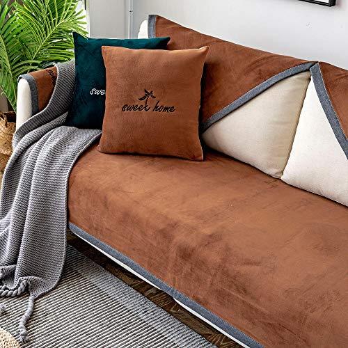 YUTJK Funda Universal para Sofá Antideslizante,Funda para Toalla de Sofá,Protector para Muebles,Acolchado de Felpa,para sofás de Cuero,Funda de sofá de Felpa de Lujo Antideslizante-marrón_Los 90×160