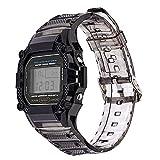 ZLRFCOK Bracelet de rechange en résine TPU pour montre Casio G-Shock DW-5600 GW-M5610 M5600 GLX-5600 Refit (couleur du bracelet : dégradé noir, largeur du bracelet : 5610)