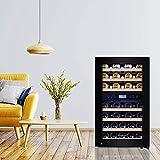 Kalamera Weinkühlschrank 2 Zonen für 45 Flaschen,120Liter,Kompressor,Temperaturzonen 5-10°C/10-18°C,Schwarz,KRC-120BFG - 3
