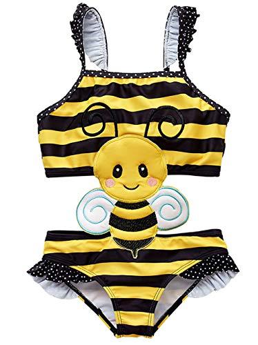 Coralup Toddler Girls Honey Bee One Piece Swimsuits Ruffle Swimwear Beach Bikini 18-24Months
