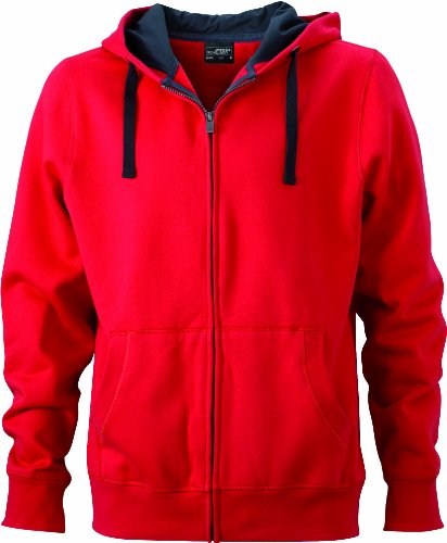 James & Nicholson Herren Sweatjacke, Rot (red/cabon), X-Large