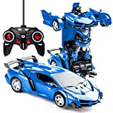 Transformers Toys Transform Car Robot Toys for Boys 3-14 Years Old Remote Controlled Deformation Robot Car 2 in 1 Electric RC Racing Car for Children Birthday Gift Transformer RC Vehicle Toy