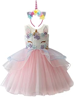 00a2a992ac Kid Girl Flower Tulle Birthday Unicorn Outfits Mythical Costume Cosplay  Pageant Tutu Princess Dress up Headband