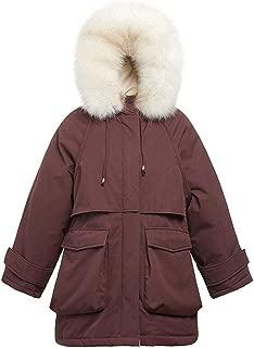 Thick Warm Winter with Fur Collar Coat Short Fashion Waist Down Jacket Wild Slim Women's Jacket (Color : Purple, Size : M)