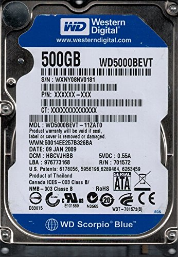 Western Digital wd5000bevt-11zat0DCM: hbcvjhbb wxny0500GB
